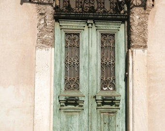 moss green door photograph, door photography, fine art print, weathered door, pastel, textured wall, photos of greece