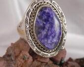 Sterling Purple Charolite Ring
