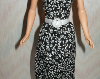 "Handmade 11.5"" fashion doll dress - black and white print"