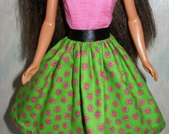 "Handmade 11.5"" fashion doll clothes - pink, black and green print dress"