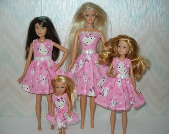 Handmade Fashion doll clothes - 4 Sisters Set - pink and white kitty dress set
