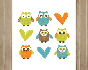 Instant Download art - Nine Owl Nursery Art  Digital Printable Art -  8 x 10