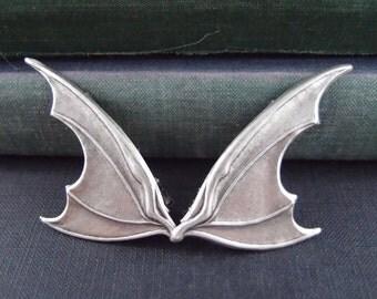 Dragon/Bat Wing Steampunk sterling silver brass Wing alligator hair clips