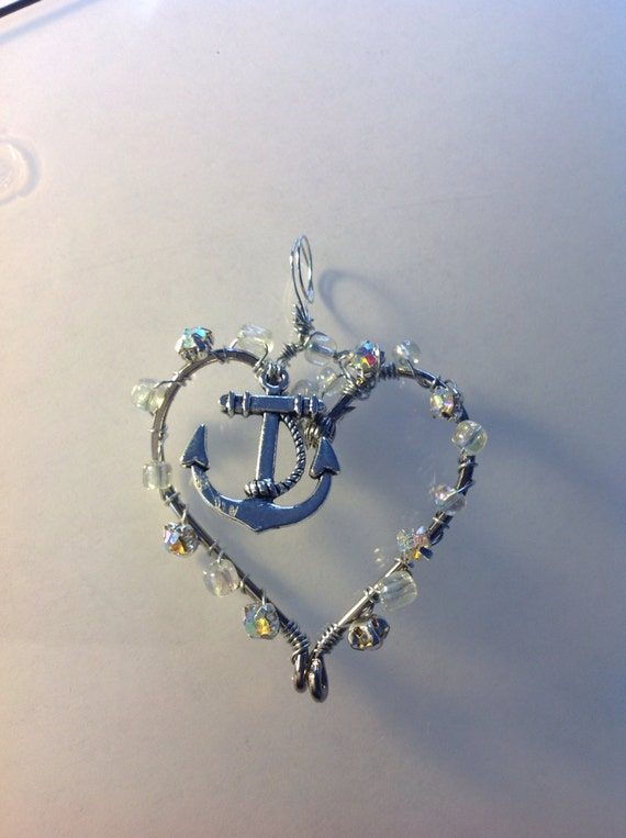 Fish hook necklace fishing hook heart with anchor by icusuezq for Fish hook charm