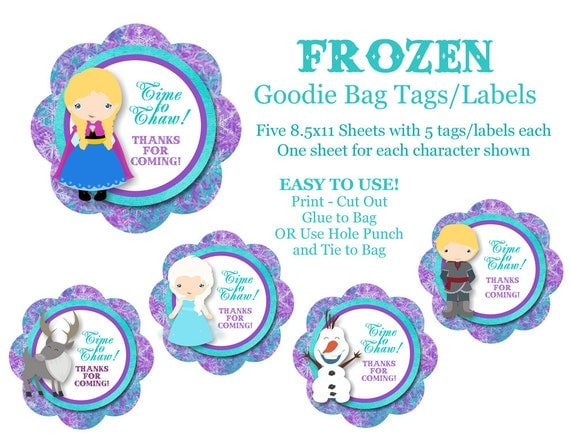 This is an image of Eloquent Frozen Party Bag Labels