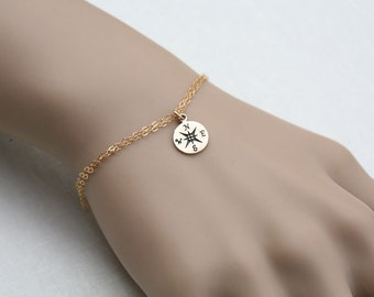 Compass Bracelet,Graduation Gifts,compass charm,sisterhood,bridesmaid gifts,Friendship necklace,Sterling Silver