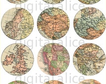 WORLD MAP Craft Circles  -Instant Download Digital Printable-  -Bottlecaps Collage Sheet - 3 sizes - DiY Print as many as you like
