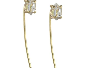 SAMPLE SALE - Herkimer Diamond Threaded Post Earrings in Recycled 14k Gold - Matte Satin Finish