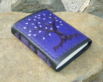 SALE Tree of Life with silver leaves, purple leather Journal, Diary, Notebook or Sketchbook