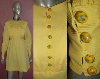 Vintage Yellow Short Mini Mod Dress Decorative Butons Ruffle Tucks