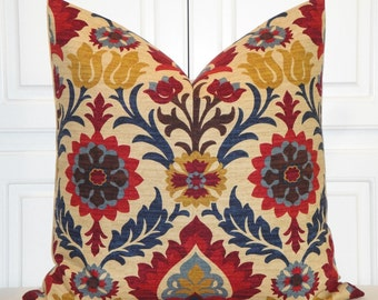 Decorative Pillow Cover - 24 x 24 - Suzani - Red - Navy blue - Tan - Brown - Floral  - EURO SHAM