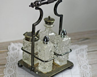 Vintage Silver Plate Condiment Caddy Crystal Salt Pepper Jam Server with spoon