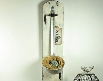 Repurposed Antique Ladle Bird's Nest Wall Hanging on Salvaged Wood