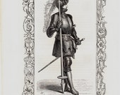 1859 Amazing Antique MEDIEVAL KNIGHT print.  armored knight  with spear and sword,  Original antique Medieval Knight Costume print