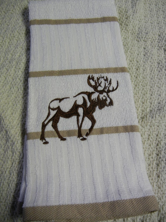 Moose Kitchen Towel Embroidered White Tan Cotton Terry Towel