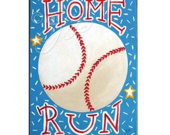Kids Sports Painting, HOME RUN BASEBALL, 11x14 Acrylic Wall Art, Baseball Themed Kids Decor