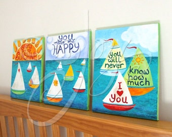 CUSTOM Childrens Wall Art, YOU Are My SUNSHINE, 3 Sailboat Paintings,11x14, Art for Kids Room