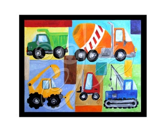 "Children's Wall Art Print, Transporation Art, VROOM #8, 8""x10"" Construction Trucks, Art for Boys Room"