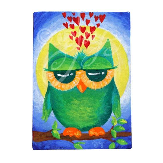 Acrylic Canvas, WHOOO LOVES YOU, 5x7, Romantic Art, Home Decor