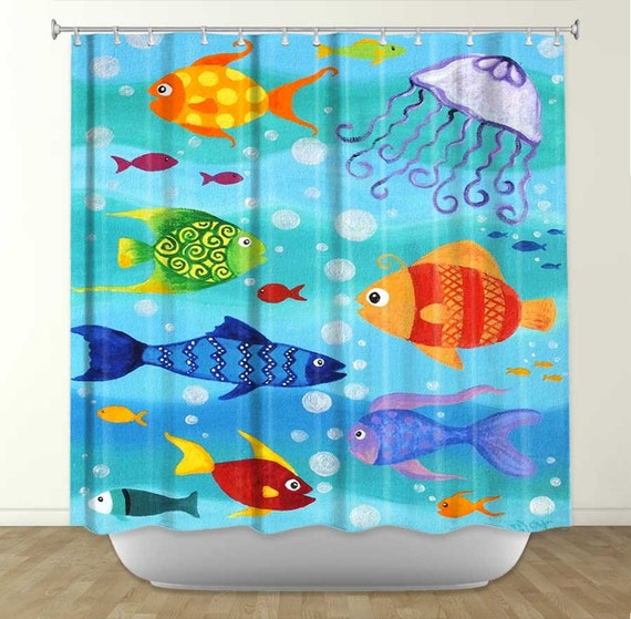 Shower curtain happy fish bathroom decor fish theme by njoyart for Bathroom fish decor