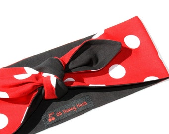 Vintage Inspired Head Scarf, Red with Polka Dots, Retro, Rockabilly