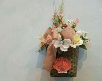 SALE Spring/Summer wall/door basket filled with flowers, berries, burlap bow, butterfly and seashells