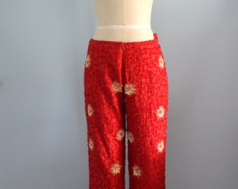 80's Red DAIZY and PAISLEY SEQUINED Embellished Silk Trousers Pants
