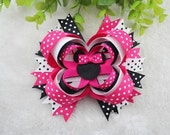 Minnie Mouse hot pink polka dot hair clip bow