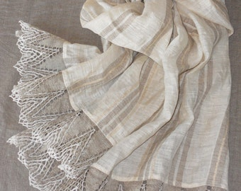 Striped linen shawl, natural gray ivory golden striped scarf with wide linen lace, washed bridal shawl in shabby chic style