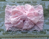 Light Pink Lace Messy Bow Head Wrap