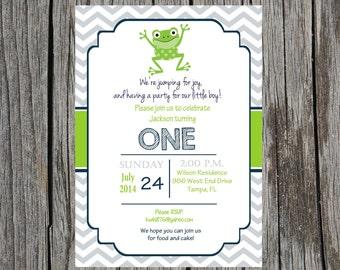 Frog birthday party Invitation-  Frogs, boy, birthday, first birthday, custom and printable