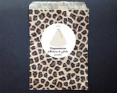 Bride Dress Leopard Party Favor Bags and Personalized Stickers - Goody Bags - Candy Bags - Treat Bags - Set of 12