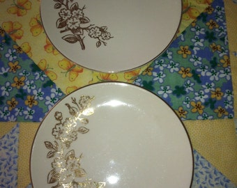 VIntage Golden Floral 2 Piece Bread and Butter Plate Set Knowles China Made in The USA