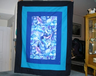 Pegasus and Unicorn Cotton and Flannel  Blanket with 100% Cotton Batting