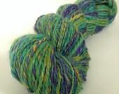 "SALE Handspun Yarn -- ""Mardi Gras"" -- alpaca, soy silk, merino, bamboo --184 yards bulky weight"