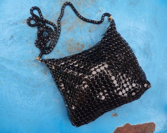 70s BLACK MESH POCHETTE--Snake Chain--Slouchy--Evening--Made in Hong Kong