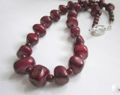 Red Jade Necklace Beaded Gemstone Necklace Chunky Stone Necklace - Lady in Red