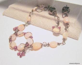 Opal Bracelet Handcrafted Gemstone Bracelet Wire Wrapped Crystals on Bronze October Birthday