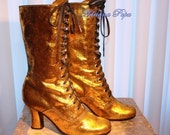 GOLD Victorian Boots Super Glitter Gold shinny  Ankle boots Metallic bridal gold glitter leather