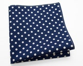 Pocket Square in navy blue with white polka dots