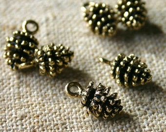 6pcs Thanksgiving Fir Cone Charm Antiqued Pewter Fall Holiday 19.5mm Pine Cone Pinecones