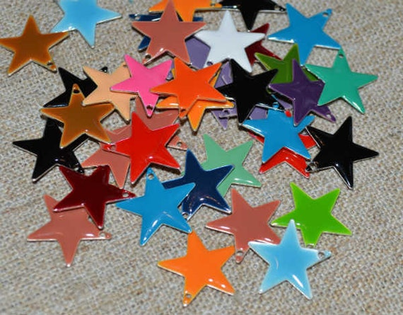 12pcs Charms Silver Plated Colored Epoxy 12mm Star Mixed Colors