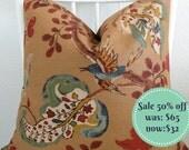 SALE - 50% off - pillow cover Schumacher Fox Hollow 20x20 - brown blue  green red
