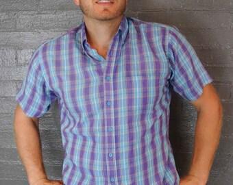 SALE Vintage Plaid Short Sleeve button down Shirt by Oakton