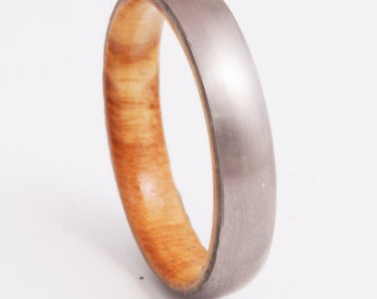 Mens Wedding Band with olive wood and Titanium Ring comfort fit