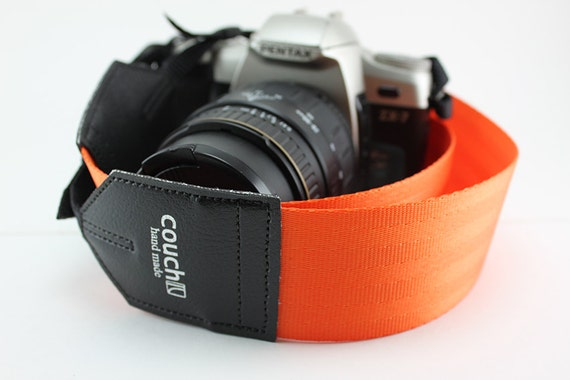 Industrial Orange Seatbelt Camera Strap - Tangerine Dream - No Bad Days Nectarine