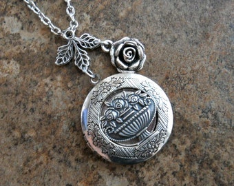 Rose Basket Locket in Silver Exclusively by Enchanted Lockets