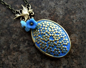 Brass Cornflower Blue Enameled Sakura Cherry Blossom Locket, Brass Locket with Flowers, Blue Enameled Brass  Locket