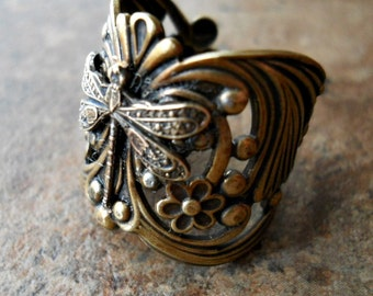 Dragonfly Ring, Brass Dragonfly Ring, Dragonfly