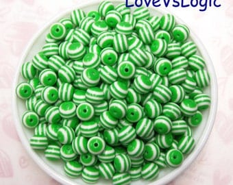 40 Lucite Sphere Beads. Green and White Stripes. 10x9mm